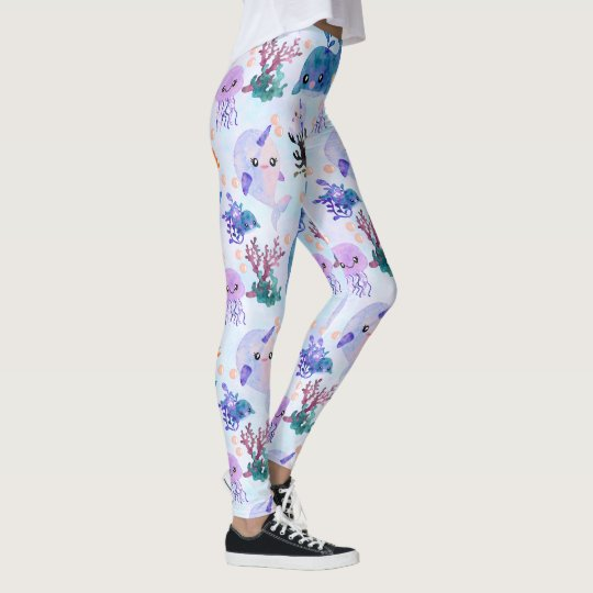 Cute Nautical Watercolor Whale Narwhal Jellyfish Leggings