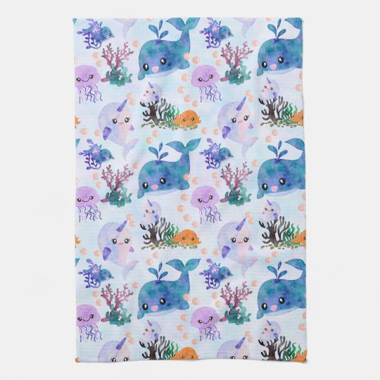 Cute Nautical Watercolor Whale Narwhal Jellyfish Tea Towel