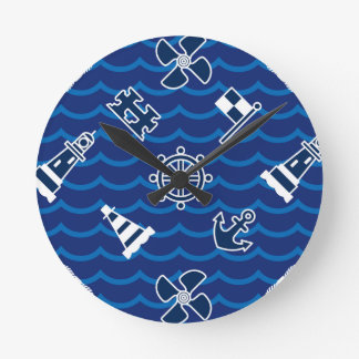 Cute Nautical Waves Pattern Round Clock