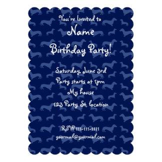Cute navy blue dachshund pattern invites