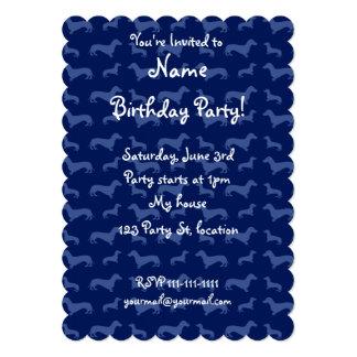 "Cute navy blue dachshund pattern 5"" x 7"" invitation card"