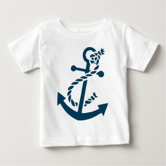 Cute Navy Blue Nautical Boat Anchor Illustration Baby T-Shirt