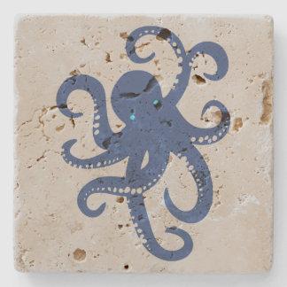 Cute Navy Blue Octopus Illustration Stone Coaster