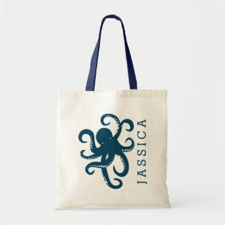 Cute Navy Blue Octopus Illustration Tote Bag