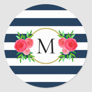 Cute Navy Blue White Striped Coral Floral Monogram Classic Round Sticker