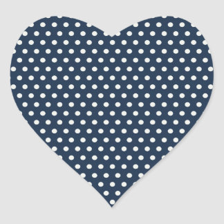 Cute Navy Blue White Tiny Little Polka Dots Gifts Heart Sticker