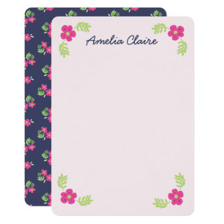 Cute navy pink lime flower personalized note card