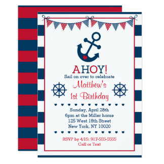 Cute Navy & Red Nautical Birthday Card