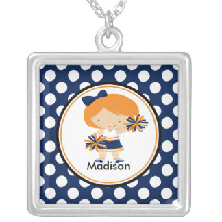 Cute Necklace Cheerleader Blue Polka Dots Pendant