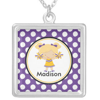 Cute Necklace Cheerleader Purple Polka Dot Pendant