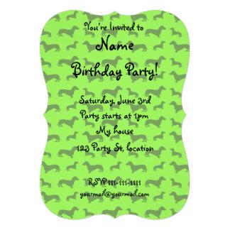 Cute neon green dachshund pattern personalized invitations