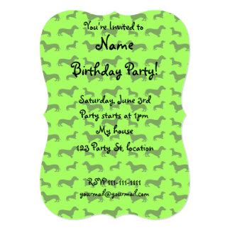 Cute neon green dachshund pattern personalized invitations