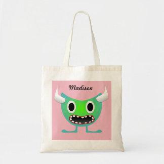 Cute Neon Horned Monster Tote Bag