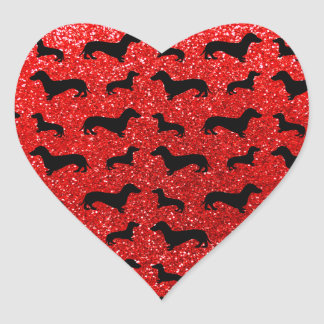 Cute neon red dachshund glitter pattern heart sticker