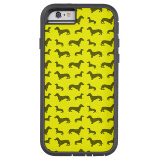 Cute neon yellow dachshund pattern tough xtreme iPhone 6 case