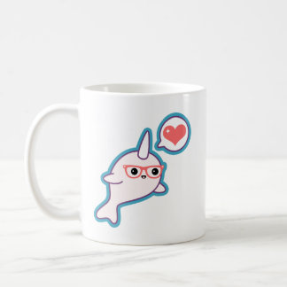 Cute Nerd Narwhal Coffee Mug