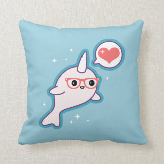 Cute Nerd Narwhal Cushion