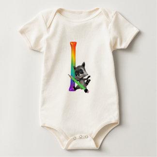 Cute Nerd Raccon Initial I Baby Bodysuit