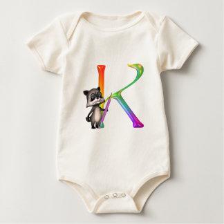Cute Nerd Raccon Initial K Baby Bodysuit
