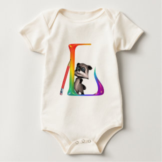 Cute Nerd Raccon Initial L Baby Bodysuit