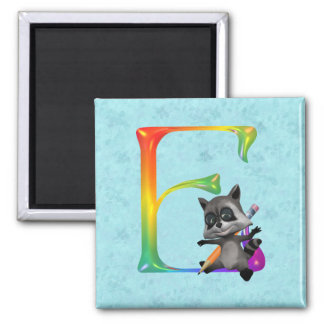 Cute Nerd Raccon Monogram E Square Magnet
