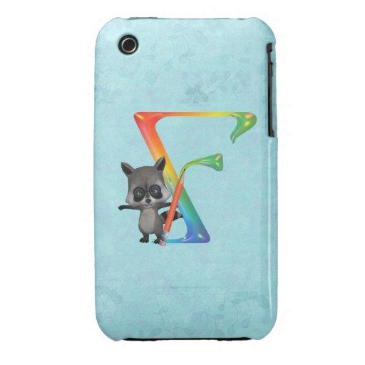 Cute Nerd Raccon Monogram F iPhone 3 Covers