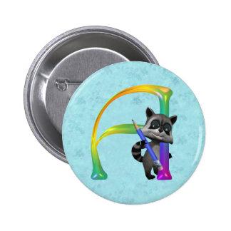 Cute Nerd Raccoon Monogram A 6 Cm Round Badge