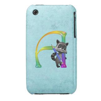 Cute Nerd Raccoon Monogram A iPhone 3 Cases
