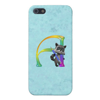 Cute Nerd Raccoon Monogram A Cover For iPhone 5/5S