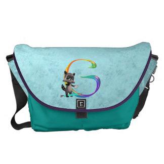 Cute Nerd Raccoon Monogram G Commuter Bags