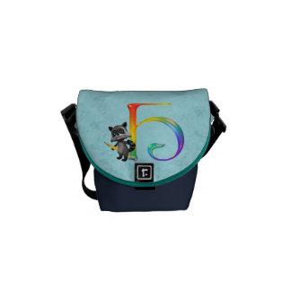 Cute Nerd Raccoon Monogram H Commuter Bags