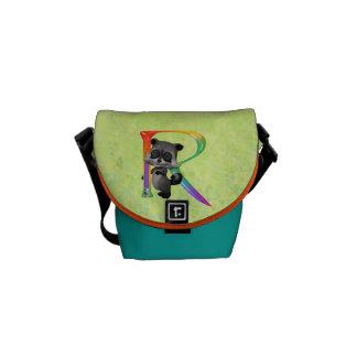 Cute Nerd Raccoon Monogram R Courier Bags