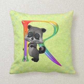 Cute Nerd Raccoon Monogram R Cushion