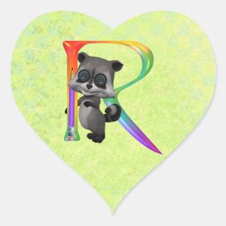 Cute Nerd Raccoon Monogram R Stickers