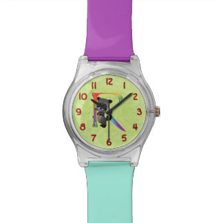Cute Nerd Raccoon Monogram R Watch