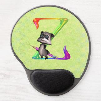 Cute Nerd Raccoon Monogram Z Gel Mouse Pads