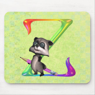 Cute Nerd Raccoon Monogram Z Mouse Pad