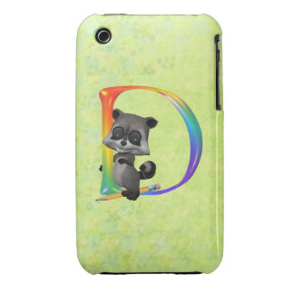 Cute Nerd Racoon Monogram D iPhone 3 Cover