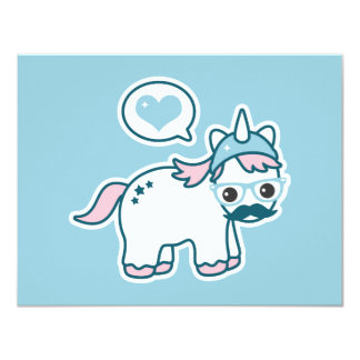 Cute Nerd Unicorn Birthday Party Invitations