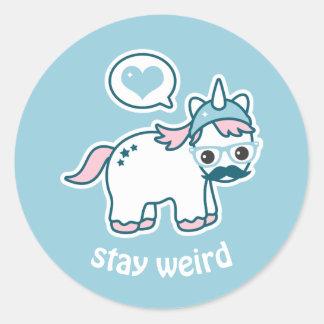 Cute Nerd Unicorn Classic Round Sticker