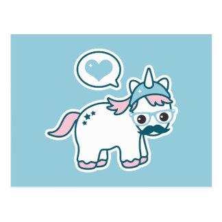 Cute Nerd Unicorn Postcard