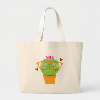 cute nerdy cactus jumbo tote bag