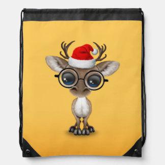 Cute Nerdy Reindeer Wearing Santa Hat Yellow Drawstring Bag