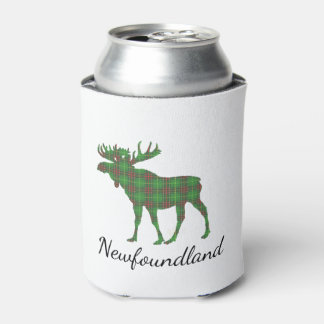 Cute Newfoundland moose tartan beer can cooler