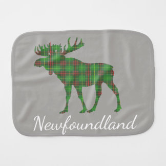 Cute Newfoundland moose tartan burp cloth