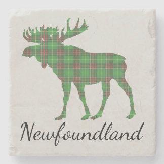 Cute Newfoundland moose tartan drink coaster