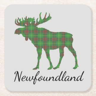 Cute Newfoundland moose tartan drink coaster
