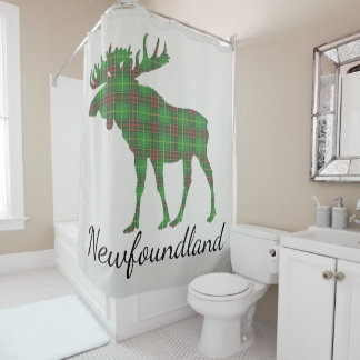 Cute Newfoundland moose tartan shower curtain