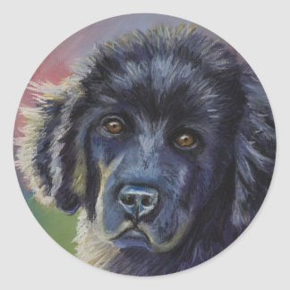 Cute Newfoundland Puppy Dog Art - Round Sticker