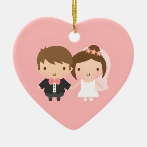 Cute Newlyweds Happily Married Couple Ornaments